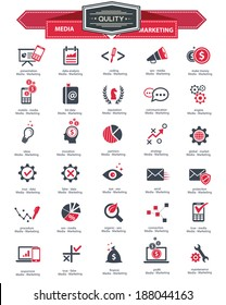 Media & Marketing icons,Red version on white background,vector