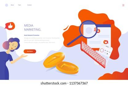 Media Marketing and Social networking concept vector flat illustration. Creative online blogging as Media Marketing via internet communication landing page or presentation template.