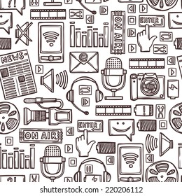 Media network communication technology network sketch seamless pattern vector illustration