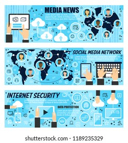 Media news and Internet security line art banners. Global networks social devices and human profile avatars, info storage and data protection infographics. World map and information outline vector