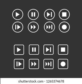Media play button collection vector. Media symbol. icons Web.