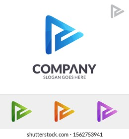 Media Play Letter PU/UP Logo Design In Various Color Option, Initial Letter P, Letter U, Media Player Logo Icon, Modern Play Button Logo, Abstract Arrow Vector