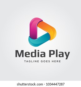 Media Play Logo Vector