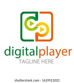 Media and play symbol logo design, Digital Video Logo Design Template, Vector Illustration letter d and P linked colorful