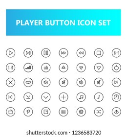 Media Player Button icon set in pixel perfect. Outline or line icons style