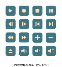 Media Player Buttons in flat design style, Video interface icon on white background
