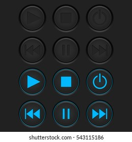 Media player buttons set. Normal and active pushed. Vector illustration.