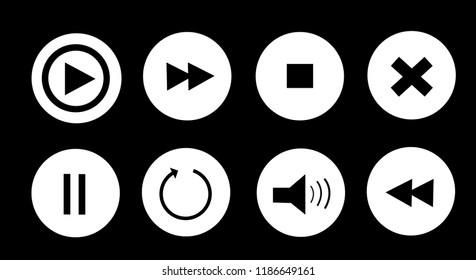 media player buttons set vector illustration