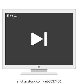 Media player control button. Rewinding illustration.