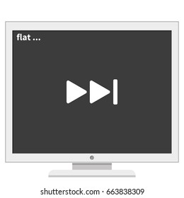 Media player control button. Rewinding sign.