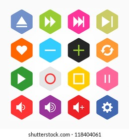 Media player control button ui icon set. Simple rounded hexagon internet sign on gray background. Solid plain monochrome color flat tile. New minimal elegant metro style. Web design elements 8 eps