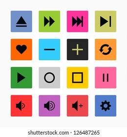 Media player control button ui icon set. Black on color. Simple rounded square sticker internet sign. Solid plain monochrome color flat tile style. Vector illustration web design elements 8 eps