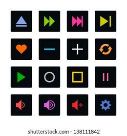 Media player control button ui icon set. Color on black. Simple rounded square sticker internet sign. Solid plain monochrome color flat tile style. Vector illustration web design elements 8 eps