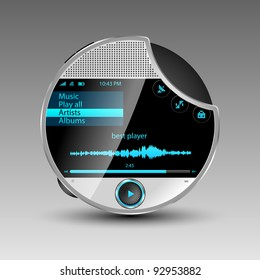 Media player with data cable connection an big touch screen. Vector illustration