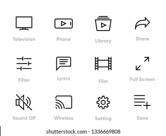 Media Player Editable Stroke Thin Line Icons.