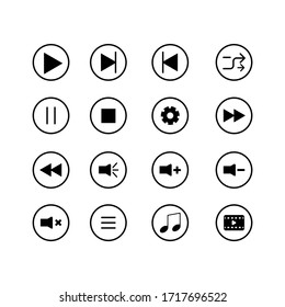 Media Player Encapsulated in Circle Icon Set Design Vector Template
