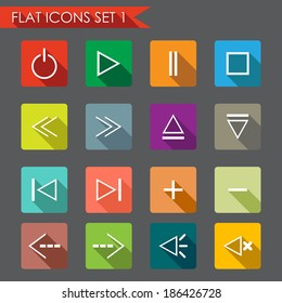 Media player flat icons
