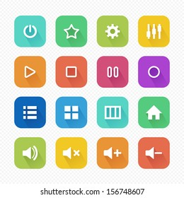 Media Player Flat Icons with Long Shadow set 2 - Vector illustration