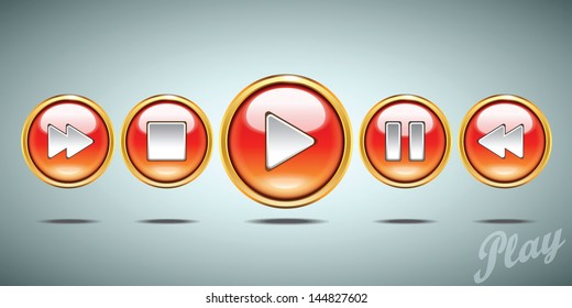 Media player glossy buttons vector set.