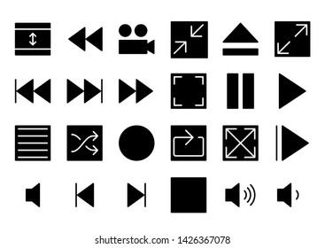 media player glyph icon symbol set