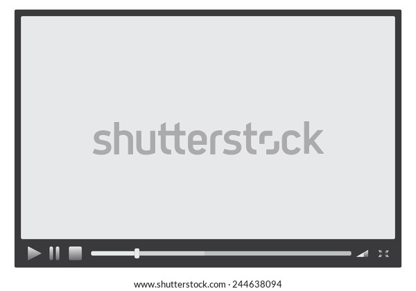 Media player with grey buttons and loading bar on white
