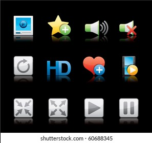 Media Player icon set 15 - Glossy Black Series.  Vector EPS 8 format, easy to edit.