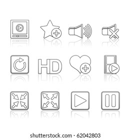 Media Player icon set 15 - Strokes Series.  Vector EPS 8 format, easy to edit.