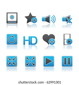 Media Player icon set 15 - Blue Series.  Vector EPS 8 format, easy to edit.