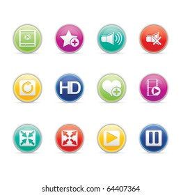 Media Player icon set 15 - Colored Buttons Series.  Vector EPS8 format, easy to edit.