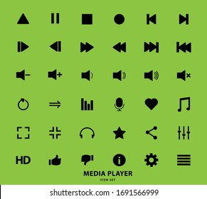 Media player icon set for designers in the design of all kinds of works. Beautiful and modern icon which can be used in many purposes Eps10 vector.