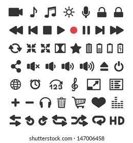 Media player icons set