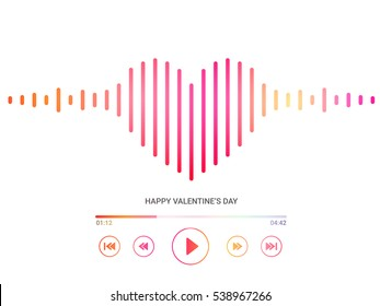 Media Player with illustration of heart for Happy Valentine's Day celebration.