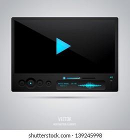 Media player interface. Vector