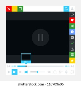 Media player interface with video loading bar and additional movie buttons. Simple solid plain one color flat tile. New modern minimal metro cute style. Vector illustration web design element 8 eps