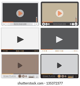 Media player interface. Video player for web, vector illustration