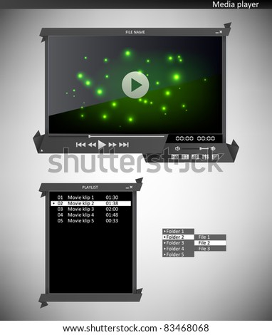 Media Player Origami Interface Stock Vector Royalty Free 83468068