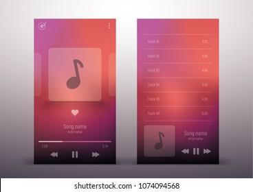 Media player. Template design. UI app design. Vector illustration smartphone screen.
