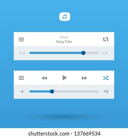 Media Player UI interface with loading bar and additional movie buttons. Blue color. Modern classic white style. This vector illustration design element saved in 10 eps