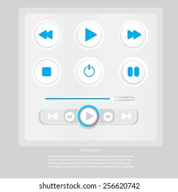 Media player vector icons / play, pause and stop button icon /Media icon set. Vector pictograms for web, computer and mobile apps: play, pause, stop,