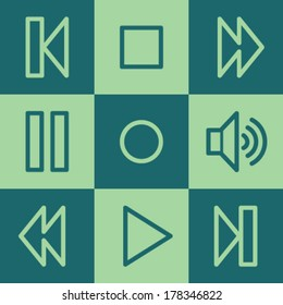 Media player web icons, green square buttons set