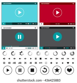Media players with video controls buttons set. Set of interface player with button control and web video player. Vector illustration