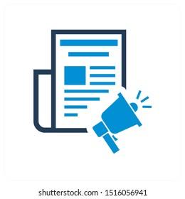 Media and press release icon concept