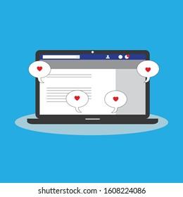 Media Social with heart sign. Flat Illustration
