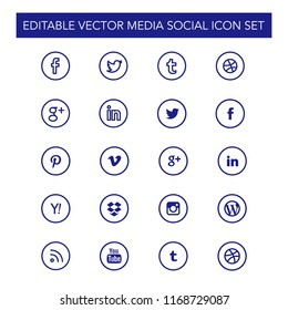 Media social icon set editable vector