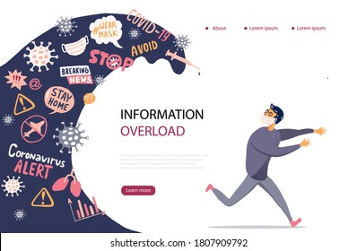 Media and social networks talk about spread of virus and disease. Covid-19 Infodemic concept. Overwhelmed person running away from the information and news stream wave pursuing him.