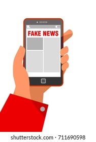 media technology and modern lifestyle concept: hand holding smartphone with fake news on screen