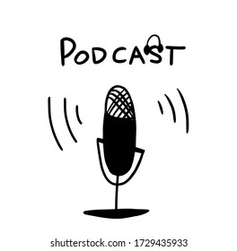 Media tool, mic and speech bubble doodle icon. Sound recording device, media equipment hand drawn vector illustration. Microphone, broadcasting facilities. Isolated. Podcast. Radio waves, logo design.