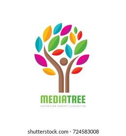 Media tree - positive vector logo template. Human character concept illustration. People man sign. Music festifal emblem Internet blog icon. Success symbol.