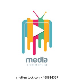 Media and tv news vector logo design template. Television broadcast concept. Isolated icon of multicolor striped tv with button.