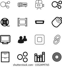 media vector icon set such as: control, frame, production, industry, hdmi, team, retro, push, recording, teamwork, empty, person, broken, round, roll, motion, rca, vinyl, compact, employee, electric